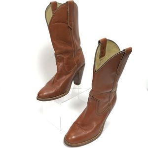 Frye Western Boots Cowgirl Shoes Leather Pull On